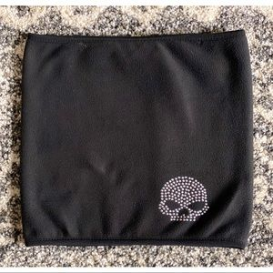 Harley Davidson Bling Skull Fleece Neck Scarf